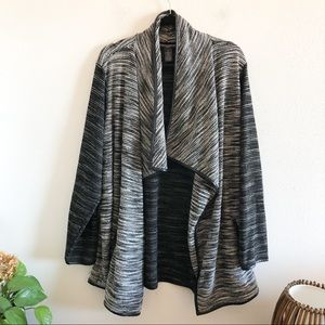 CHELSEA AND THEODORE draped open knit cardigan 3x